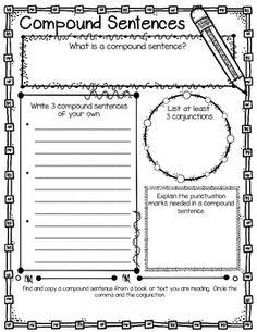 Compound Sentences Graphic Organizer Freebie!!!