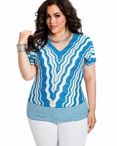 Ashley-Stewart-Womens-Plus-Size-ZigZag-Stripe-Double-V-Neck-Top-Fjord-Blue-1820-0 stripe doubl, style, vneck top, ashley stewart, comb model, size fashion, stripes, zigzag stripe, doubl vneck