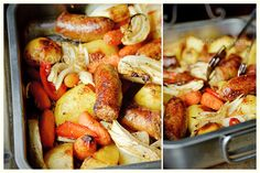 Lazy Sunday Casserole   Ingredients:   4 sausages (beef or pork); 1 pound potatoes; 1/2 pound carrots; 1/2 bell pepper; 1 large onion; 1 fennel bulb; 2 garlic cloves; 2 tbsp oil; freshly cracked black pepper; 1 1/2 tsp Italian herbs; 1/2 cup chicken broth;   4 tbsp balsamic vinegar
