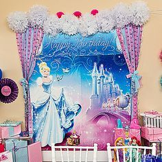 It's time to wish upon a star with our enchanting Cinderella scene setter. With a few touches of magical décor, this becomes the perfect backdrop for birthday photos! Click for details on this party idea!