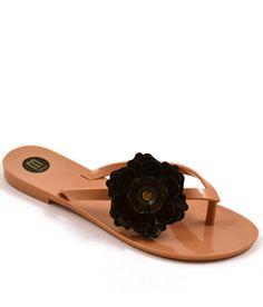Cruelty-Free Melissa Harmonic Flower Flip Flop in Nude & Black