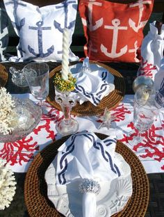 Patriotic Table Settings for Coastal Homes