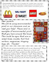 classroom idea, parents, kindergarten fun, januari preschool, print letter, parent letters, environmental print alphabet, prints, environment print