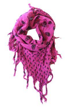 Skull Scarf Pink   Gothic Clothing   Emo clothing   Alternative clothing   Punk clothing - Chaotic Clothing