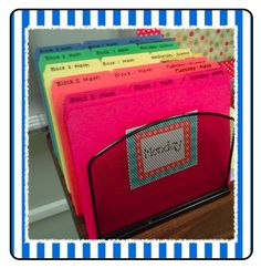 Organize plans and copies for the week! This is great for preparation and in case of a last minute sub- you are organized!