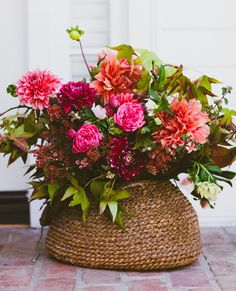basket of flowers with bright dahlias by Moon Canyon #gwsxmodcloth
