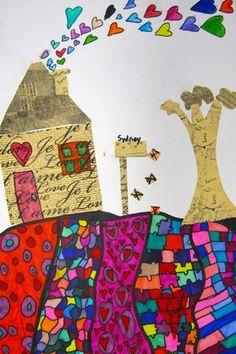 folk art landscape inspired by Heather Galler