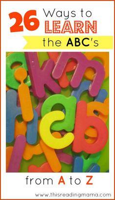 26 ideas to teach kids the ABC's - fun ideas!