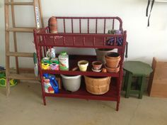 Changing table repurposed into potting bench