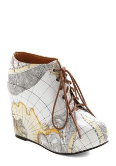 Mapmaking Your Move Wedge by Jeffrey Campbell - Wedge, Multi, Novelty Print, Casual, Statement