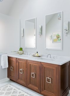 Jennifer Palumbo - bathrooms - white lacquer mirror, his and her mirror, vanity mirror, white vanity mirror, mirrored sconces, mirrored wall...