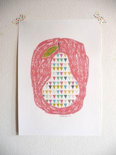 Pear art print - Poster A4. $14,00, via Etsy.