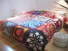 Vintage scarves bedspread