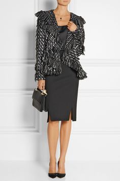 Lanvin|Frayed bouclé-tweed peplum jacket