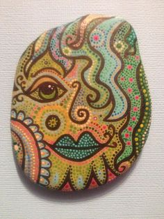 Green Face Painted Rock