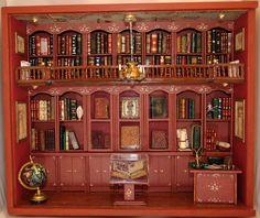 dollhous, librari box, map, miniatur librari, miniatura, miniatur room, miniature library, diorama box