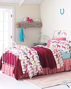 painted ponies bedding for little girls room from Garnet Hill