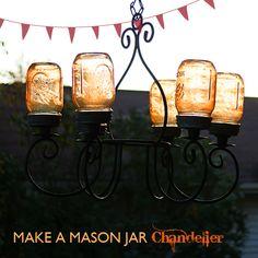 Mason Jar Craft Ideas - Tinted glass chandelier