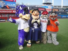 NL West mascots posing at the 2012 All-Star Game
