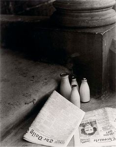 morning newspapers, morning milk - so British | black and white photography | b&w | noir et blanc