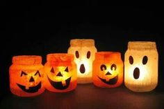 Halloween votives made from baby food jars tissue paper & modpog