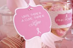 Breast cancer freebies, flags, water bottle wrappers, tags, box, hope signs