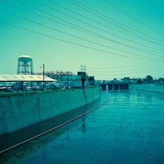 los angeles river (south). vernon, ca. 2012. by eyetwist, via Flickr   #tertiarycolors #teal #aqua #turquoise