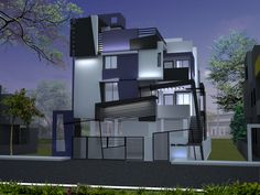 Chandrashekar's House Front Elevation Design by Ashwin Architects in Bangalore.    Call (+91)-(80)-26612520 for more inforamation or visit http://www.ashwinarchitects.com