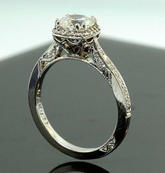 This is gorgeous!......Tacori vintage ring, one of the best side view details on a ring I have ever seen.  Found it at Arthur's Jewelers.