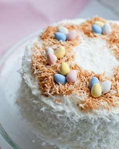 Easter Coconut Cake Recipe with Dulce de Leche Filling and Coconut Frosting! Mmmmm . . . .