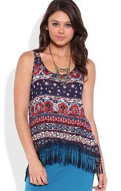 Deb Shops Tribal Print Tank Top with Crochet Bottom
