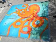 I participate in chalk art festivals in the summer. This is a picture I did a year ago.
