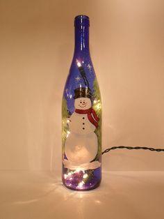 wine bottle crafts with lights   Snowman Lighted Wine Bottle Cobalt Blue Snowman Hand Painted 750mlSAM ...