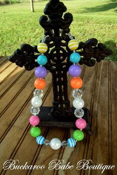 Love this!!! Rainbow bubblegum acrylic bling necklace for little girls www.facebook.com/buckaroobabeboutique