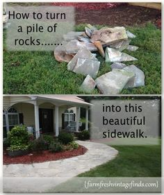 How to build a sidewalk with rocks - Sidewalk Before and After