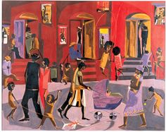 Jacob Lawrence! Painted a lot of everyday scenes in Harlem. He also focused on African American history. - esther.