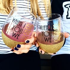 When I Sip You Sip We Sip Stemless Wine Glass