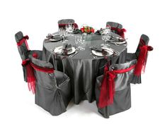Gray with red accent Table setting