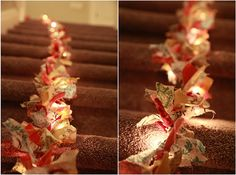 cut strips of fabric and tie around a string of christmas lights