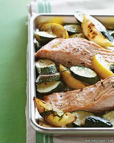 Roasted Salmon with Zucchini, Lemon, and Dill