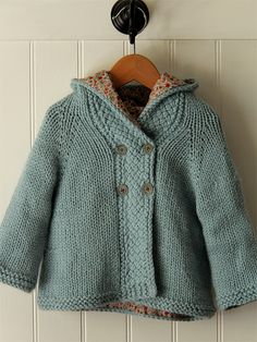 Hand knitted by Alicia Paulson for Amelia - Latte Baby Coat, lined