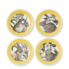 Yellow Banded Easter Salad Plates, Set of 4 for Williams Sonoma. I designed these plates based on antique engravings of bunnies & botanicals.