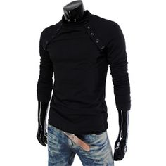 #(VT07-BLACK) Mens Casual Long Sleeve Button Point Round neck Tshirts    Please Help Spread The Word Repin Thanks! You Are Awesome! :)