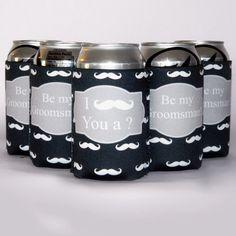 I mustache you, be my groomsman custom koozie
