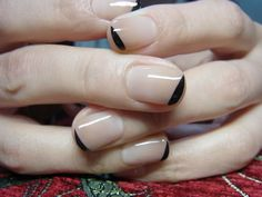 Nude and black asymmetric tipped #nails #mani #manicure