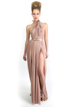 Michael Costello: Pleated Nude Silk Mesh Halter Gown with Front Slits
