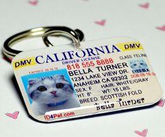 Pet Tags California Driver License pet ID tag $25.00.