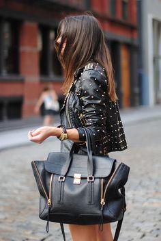 black leather studded jacket, black Philip Lim 3.1 bag