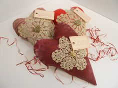 hearts with mini lace doilies