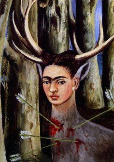 1946 Frida Kahlo Le Cerf blessé, The wounded Stag, Détail le Visage, détail the Face. #Art #Mexico #deFharo